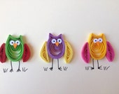 Owls Greeting Card, quilled owl card, ©ElPetitTaller,  quilling art, quilled blank card with colorful funny owls