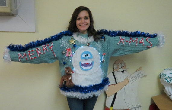 Abominable snowman ugly christmas sweater