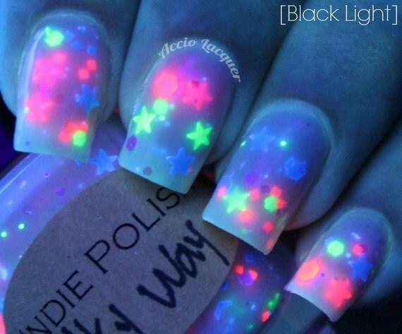 UV reactive Nailpolish Milky way  - FREE SHIPPING  Large bottle  -  Handmade - polish  - lacquer - neon - stars