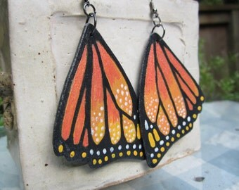 Handpainted monarch butterfly handpainted wing earrings balsa wood earrings