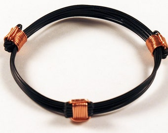 Traditional African artificial elephant hair bracelet with 3 copper knots