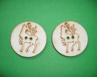 2 Wooden Buttons Deer, 4 cm (15-0002C)