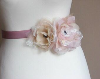 Blush sash Champagne blush sash Mauve ribbon sash Bridesmaids sash Bridal accessories Dusty violet sash Blush ivory sash Champagne sash