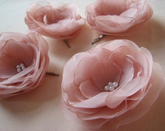 Blush Hair Flowers Blush Hair Clips Pale Pink Hair Clips Hair Flowers Dusty Pink Hair Flowers Blush Bridesmaids Gift Pink Hair Flowers