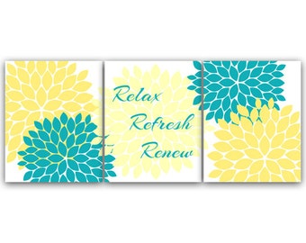 Popular items for turquoise bathroom on etsy - Yellow and turquoise bathroom ...