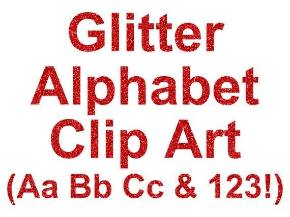 Red Glitter Alphabet Clip Art Digital Glitter Letter and