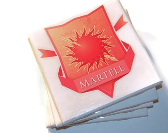 Martell Coasters,Game of Thrones, House Martell, Game of Thrones Gift,Martell Gift, Oberyn, Red Viper, Pedro Pascal,Prince of Dorne,Trystane