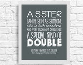 A Sister is a Special Kind of Double Quote- Sister Quote - Wall Art - Customizable- Sister Birthday Gift- Typography- subway art