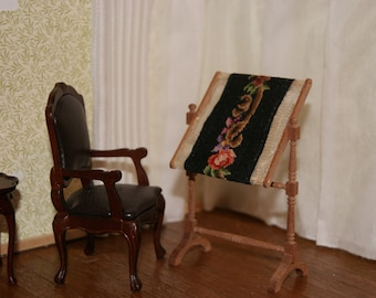 Dollhouse Miniature Petit Point on Needlework Stand--Free Shipping