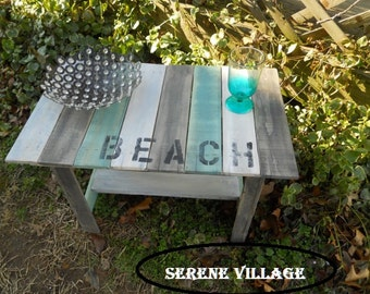 Rustic End Table, Reclaimed Wood Table, Beach Furniture, Distressed Table, Beach Cottage, Lodge, Cabin, Rustic Table, Patio Table,