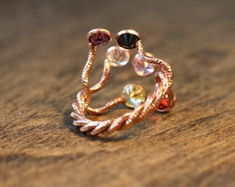 925 Sterling Silver Ring Cubic Zirconia Multicolor Ring 14 Karat Rose Gold Plated