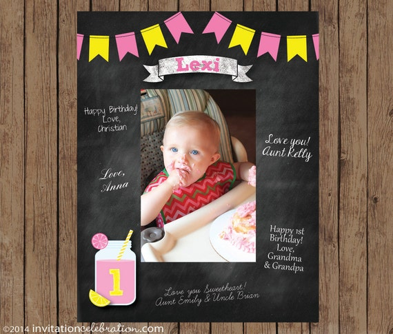 Birthday Signature Mat Wishes Guest Book Frame Pink