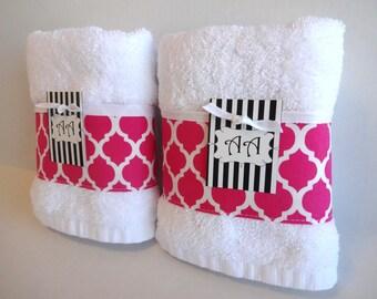 Hot Pink Towels, Hot Pink, Quatrefoil, Quatrefoil Fabric, Girls Bathroom,  Pink