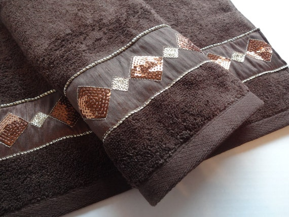Brown and gold bath towels bathroom bath towels hand by - Decorative hand towels for bathroom ...