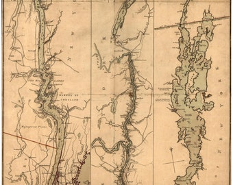 Hudson River &  Lake Champlain 1777 Map  by Sauthier, NY, VT -  Reprint