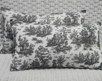 Set of 2 - Black  & White Jamestown Toile Indoor / Outdoor  Rectangle / Lumbar Throw Pillows