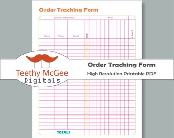 Order Tracking Form - Instant Download Printable Business Tool Keeps Ordars Organized