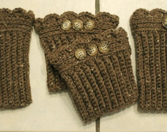 Crochet Set Barley Fingerless Gloves Hand Warmers & Matching Boot Cuffs,Comes in Gift Bag