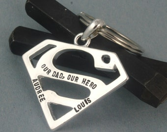 Superhero Keychain - Super Hero Keychain - Custom Keychain - Personalized Keychain - Custom Keyring - Key Ring - Superman Gift - Dad Gift