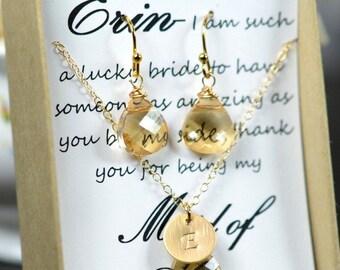 Bridesmaid Jewelry,Bridesmaid Necklace Earrings Champagne Jewelry Gold Bridesmaid Jewelry Bridesmaid Gift Jewelry Champagne Bridesmaid