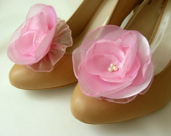 Pink Shoe Clips with handmade flowers