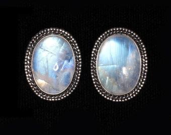 Rainbow Moonstone Clip Earrings, Sterling Silver Moonstone Clip Earrings, Balinese Moonstone Clip On Earrings, Moonstone Clips: ATHENA CLIPS