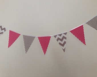 Beautiful Handmade Fabric Flags - Grey Chevron Stripes, Spots and Pink Stripes (per metre cost)