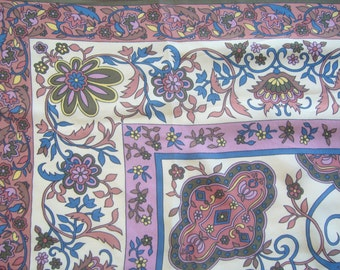 Ethnic silk scarf in ecru,lavender,mily brown and blue tones/floral scarf pure silk %100