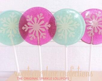 Frozen Favors, Snowflake Lollipops, Frozen Themed, Hard Candy Lollipops, Party Favors, Lollipops, Sweet Caroline Confections--Set of Six