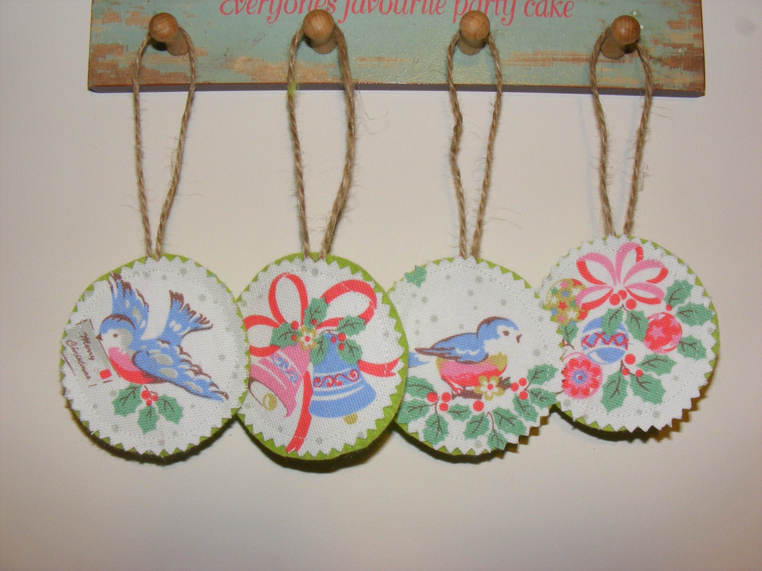 Set of 4 Cath Kidston Fabric & Felt Handmade Christmas Hanging Decorations