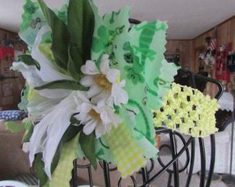 Scrap fabric flowers green,white  and yellow headband