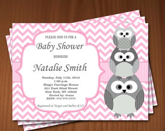 Owl Baby Shower Invitation Girl Baby Shower invitations Printable Baby Shower Invites -FREE Thank You Card - editable pdf Download 545 rose