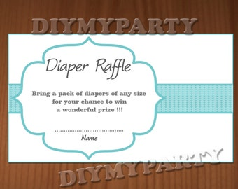 Baby Shower Diaper Raffle Ticket Diaper Raffle Cards Diapers Raffles Baby Shower Games Printable Digital Files printable party decor blue