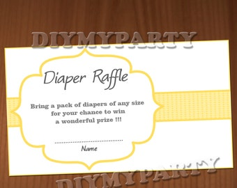 Baby Shower Diaper Raffle Ticket Diaper Raffle Cards Diapers Raffles Baby Shower Games Printable Digital Files printable party decor yellow