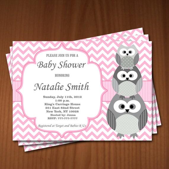 Owl baby shower invitation girl baby shower invitations for Etsy owl wedding invitations