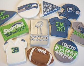One dozen Seahawks cookies