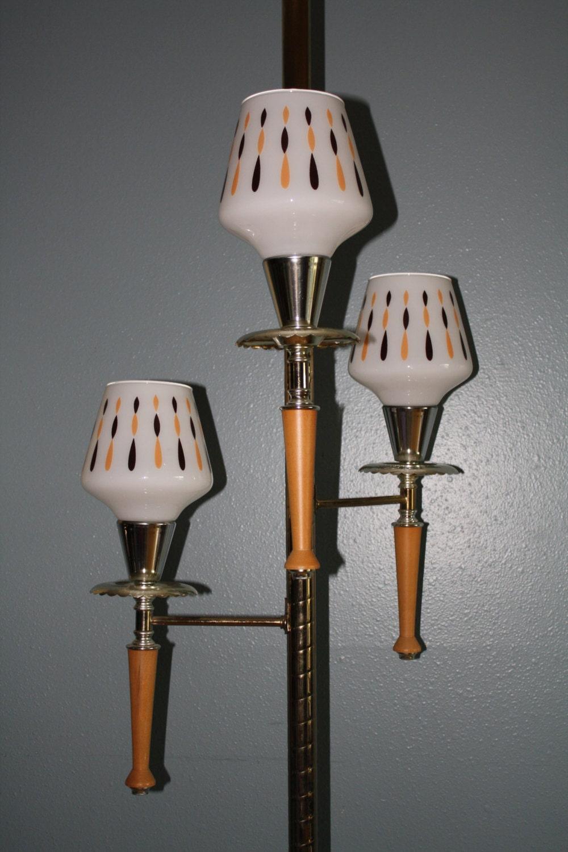 Retro vintage floor to ceiling tension pole lamp 3 way pole for Retro floor lamp adelaide