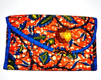 Women Holiday Party Clutch- Yellow, Orange And Blue African Formal Print Clutch - Women Purse - African Kente Print Purse By Zabba designs