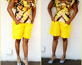 Yellow African Bazin Shorts , African print shorts, African Print Summer Shorts, African Tribal Shorts