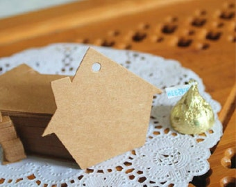House shape plain kraft tag / gift tags in set of 50