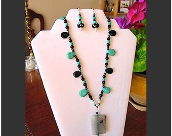 Black Onyx, Turquoise Howlite, Hematite and Pearl Necklace with Blue Agate Focal and Art Glass Earrings