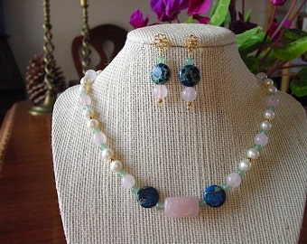 Imperial Navy Jasper, Rose Quartz, Green Aventurine and Pearl Necklace and Gold Flower Earring Set