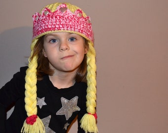 Crocheted Hat - Princess Crown with Braids