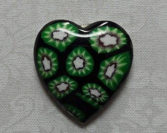 "Enameled metal heart cabochon,1"",1pc-CAB122"