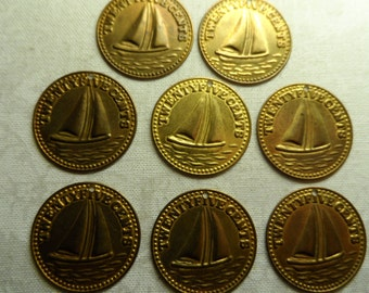 "Raw brass 7/8th"" diameter  sailboat coins,8pcs-KC342"