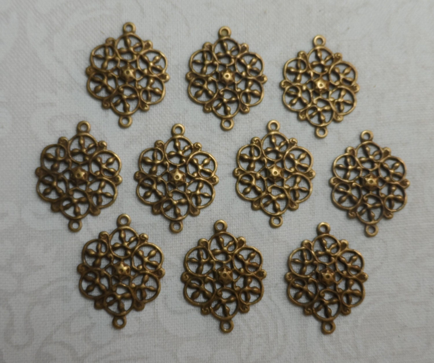 Vintage gold plate brass filigree connectors with rings