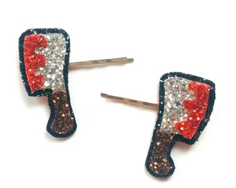 Glittered Bloody Cleaver Bobby Pins Halloween Hair Clip
