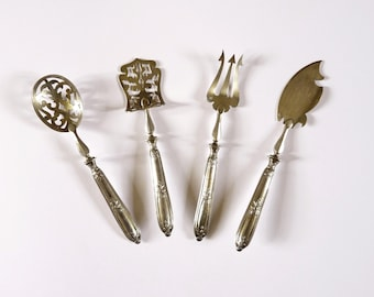 Antique Hors D'Oeuvres Set Four Piece French by Parisian Silversmith Crossard et Dogit circa 1910