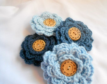 Flower Accessory Pin -  Blue
