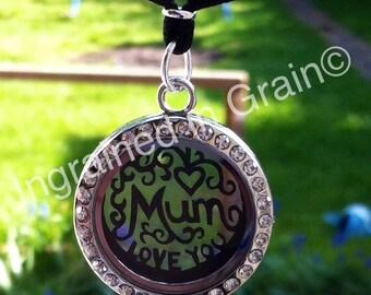 Unique 'Mum' Locket Necklace, with a tiny hand cut papercut inside.